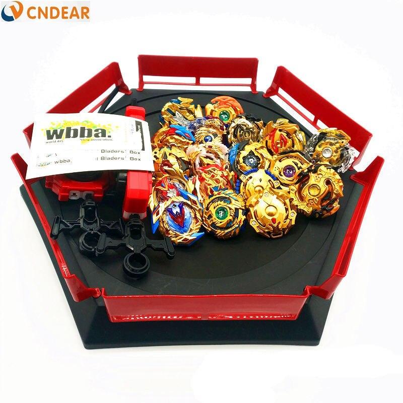 Style doré spin top rafale lame jouet métal Funsion avec poignée lanceur boîte en plastique jouets pour enfants jouets