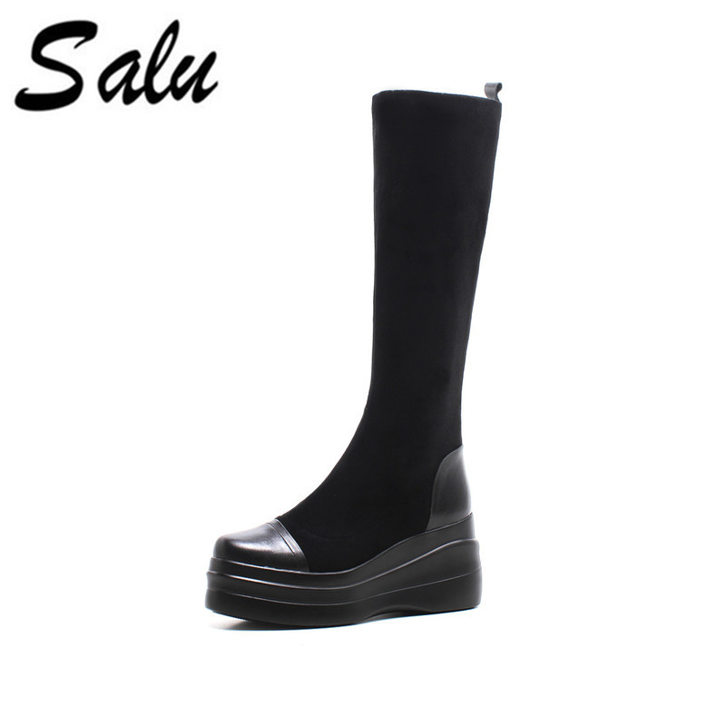 Salu Women Motorcycle Boots Fashion Women Shoes Casual Knee High Boots Leather Winter Shoes Women Boots цена