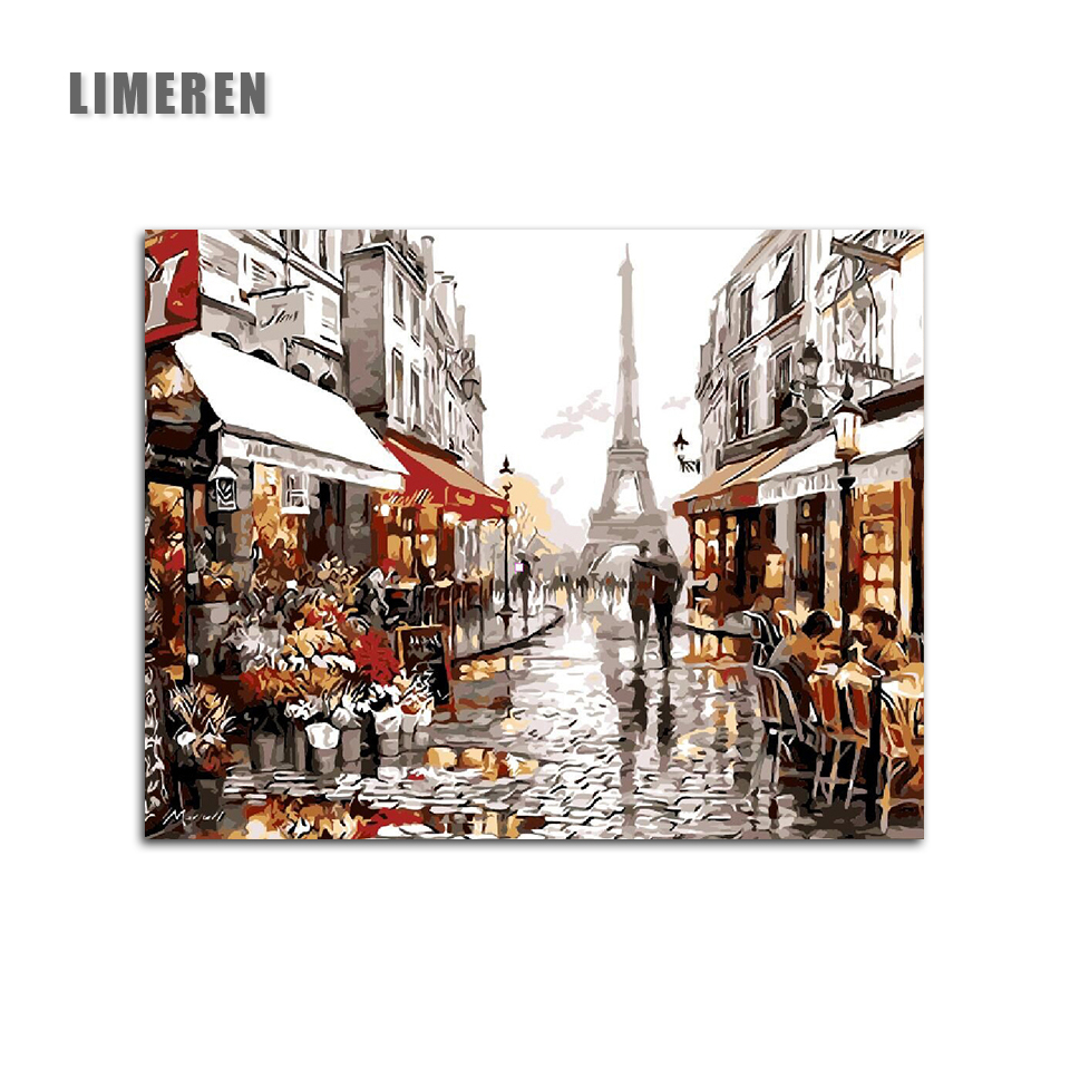 Diy Digital Oil Painting By Numbers Paint Drawing Coloring By Number Canvas Hand Painted Picture Wall Decor Eiffel Towel