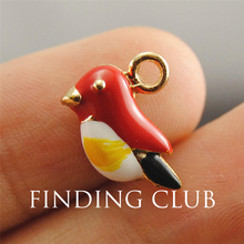 25pcs Gold Tone Enamel Multicolor Bird Charms Pendants Jewelry DIY Jewelry Findings Floating Charm B38(China)