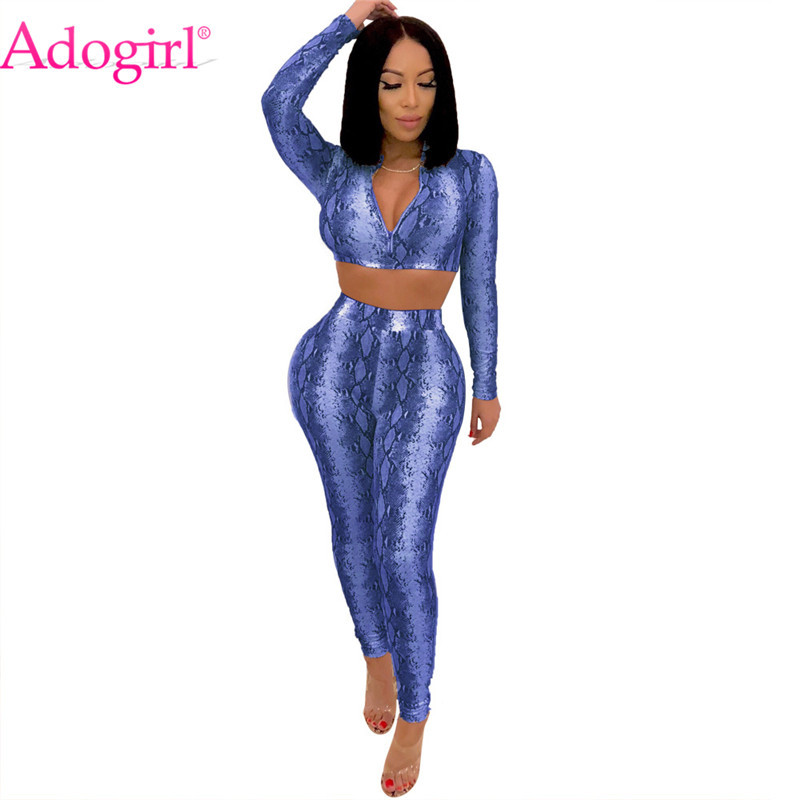 Adogirl Snake Print Women Sexy Two Piece Set Deep V Neck Long Sleeve Crop  Top + Pencil Pants Club Party Suits Snakeskin Outfits-in Women s Sets from  Women s ... 4ad5a0874