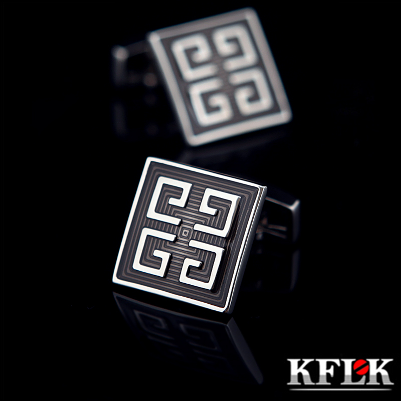 KFLK Jewelry Shirt Cufflinks For Mens Brand Gray Enamel Cuff Link Button High Quality Luxury Wedding Groom Fashion Free Shipping