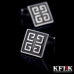 Kflk jóias camisa abotoaduras para homens marca cinza esmalte manguito botão de ligação alta qualidade luxo casamento noivo moda frete grátis