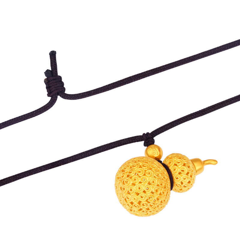 Pure 24K Yellow Gold Necklace Pendant Handmade Gold Weave Gourd Necklace 17.82g