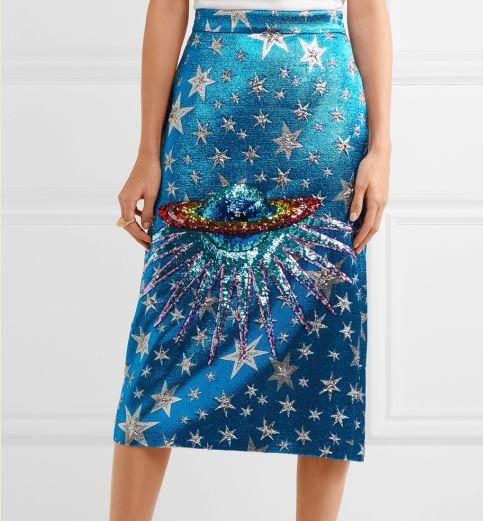 82b489323b SS2018 Spring Women Runway shimmering rainbow Sequin-embellished planet  Saturn Star stunning blue metallic jacquard midi skirt