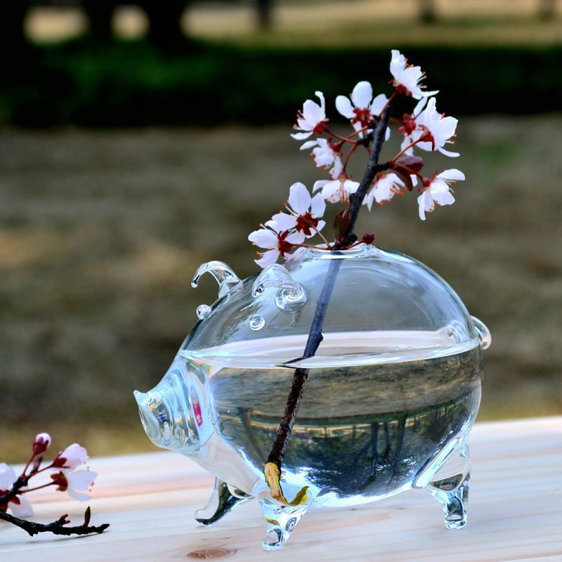 O.RoseLif Pig Creative Glass Vase Wedding Decoraiton Modern Home Decoration Furnishing Articles Glass Vase Decoration Mariage