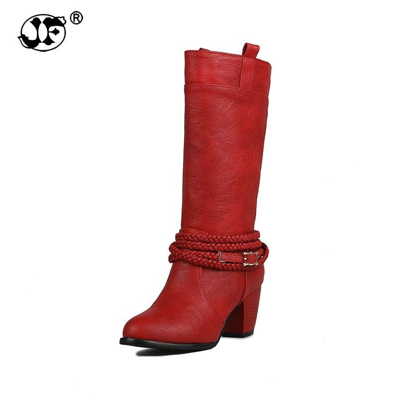 Grande taille femmes Cool moto bottes mode talons Chunky sans lacet automne hiver chaussures demi-genou bottes 889