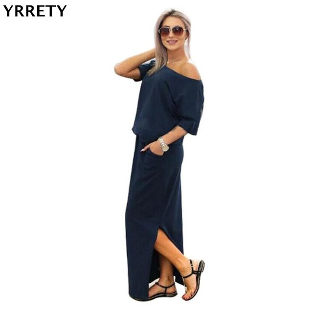 c8ecc98d5c0 YRRETY Summer Maxi Dress Women Short Sleeve Casual Dress Side Split Sexy Long  Dress Femme Autumn