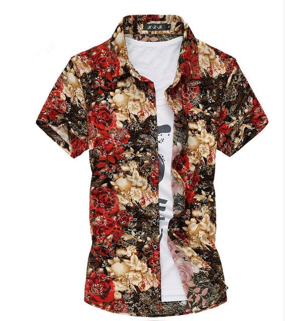 ea017a5a M-7XL Plus Size Men Floral Hawaiian Shirt Ffashion 2015 Summer Short-Sleeve  Flannel Shirts Mens Casual Dress Camisa