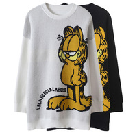 Fall 2018 New Korean Style Round neck Black Knitted Shirt Garfield Cat Jacquard Long Sweater Fall Outfits Female Warm Pullovers