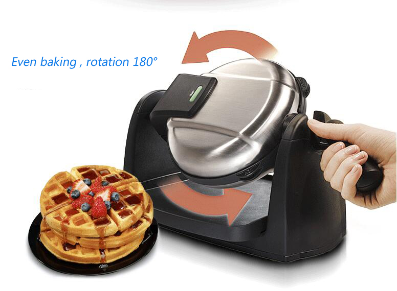 Household Rotating Waffle Maker Multi-function Automatic Double Heating Rotating Muffin Baker Electrical Baking Pan 26030-CN недорого