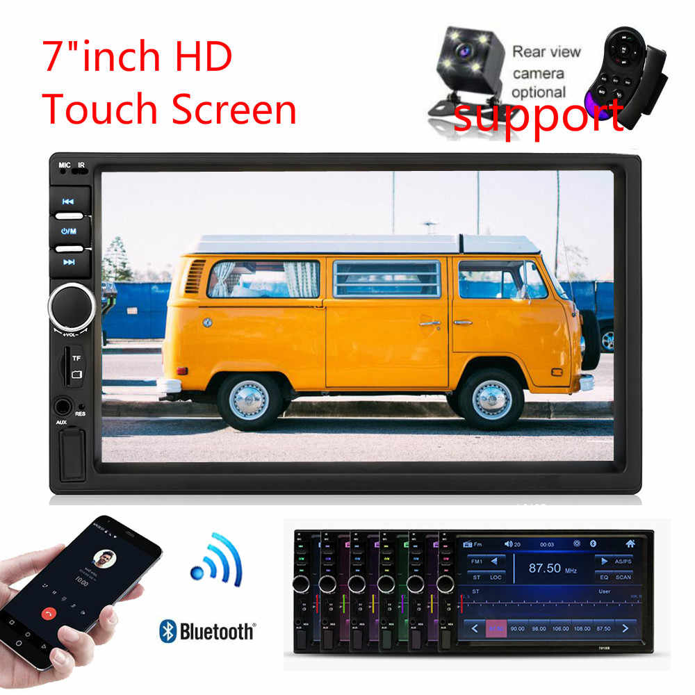 """2Din Autoradio カーラジオ 7 """"タッチスクリーン MP4 MP5 Bluetooth ステレオオーディオプレーヤー枠ベゼル付リアビューカメラ"""