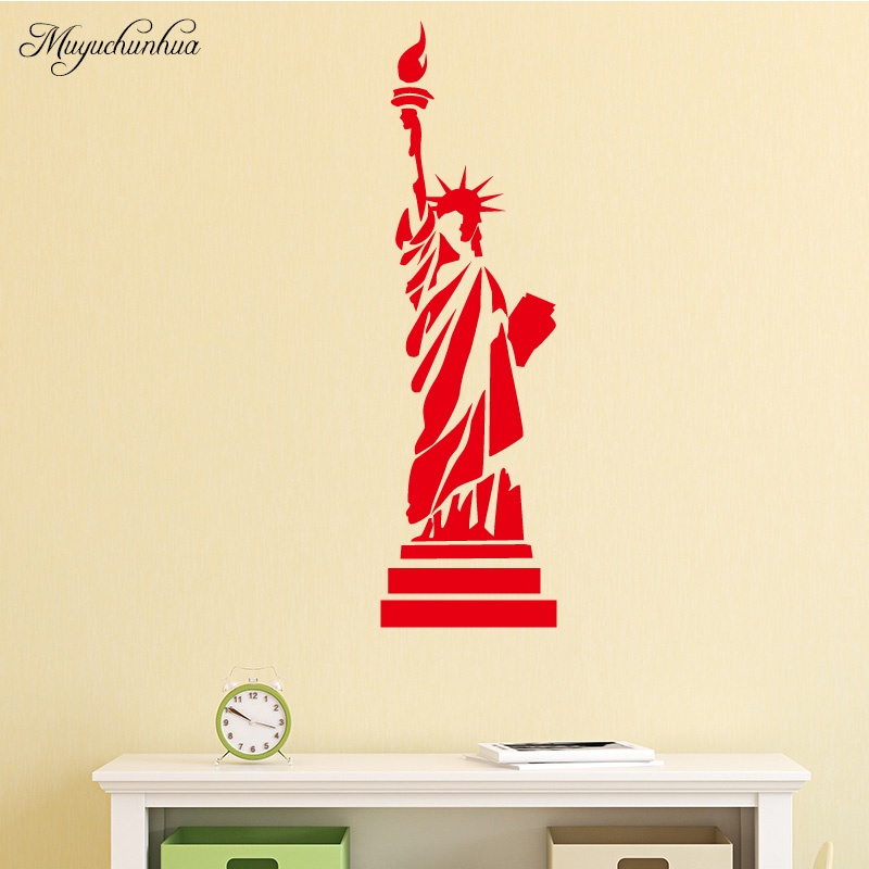 Muyuchunhua Statue of Liberty Pattern Stickers for Home Decor Living Room Bedroom Fashion DIY Home Decoration Accessories