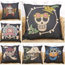 Cushion Cover One Piece Skull Logo Pillow Cover Linen Covers Home Decoration Car Sofa Pillowcase almofada coussin Gift 45x45cm