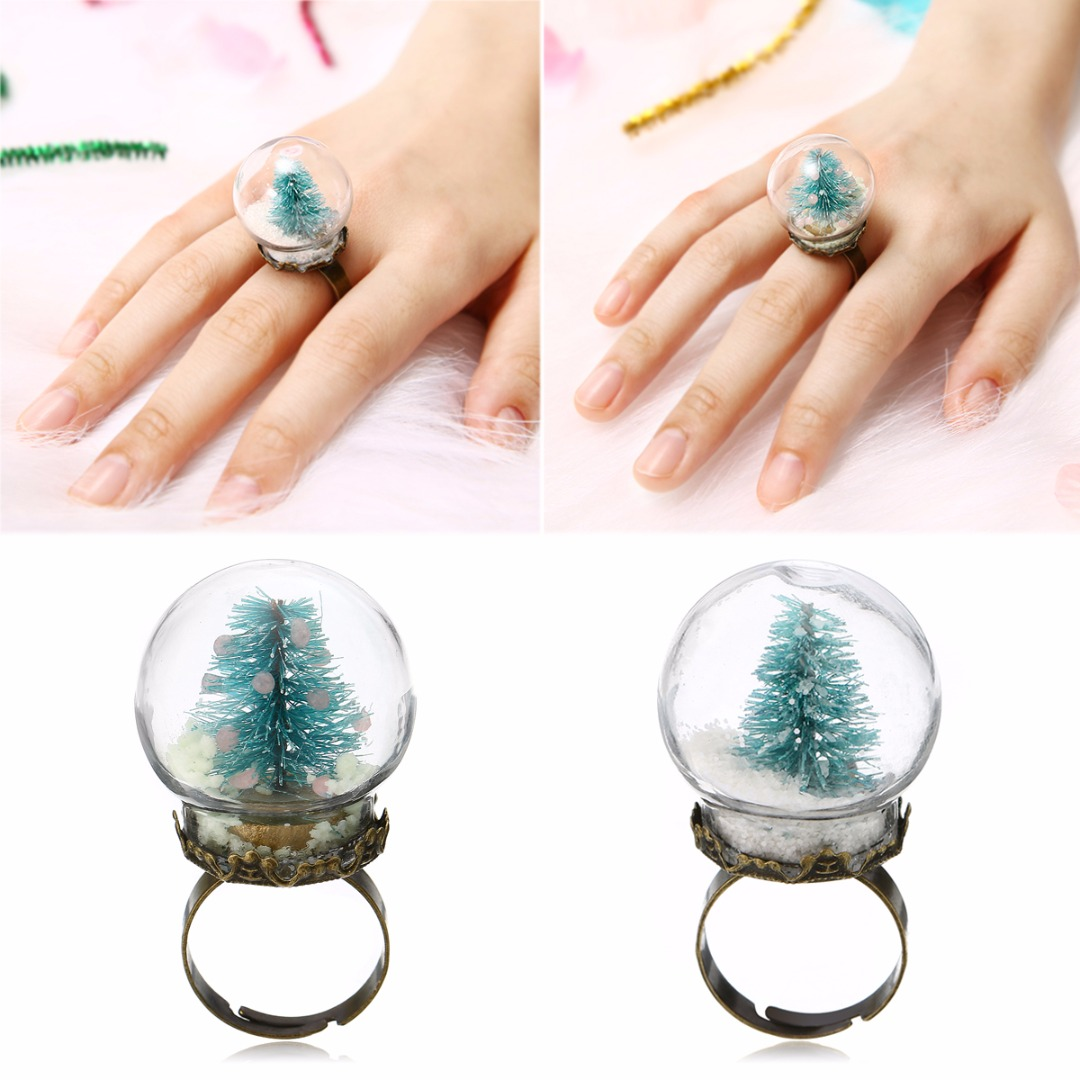 Luminous Tree Glass Ring Shellhard Glow In The Dark Finger Ring Anillos Mujer Vintage Party Jewelry Accessory