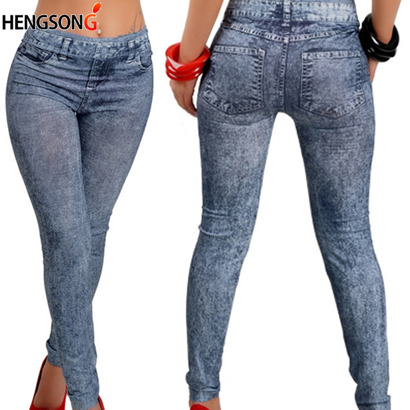 Mid Waist Push Up   Leggings   Women Slim   Leggings   Polyester   Leggings   Sexy Hip Snowflake Imitation Denim Pencil Trousers