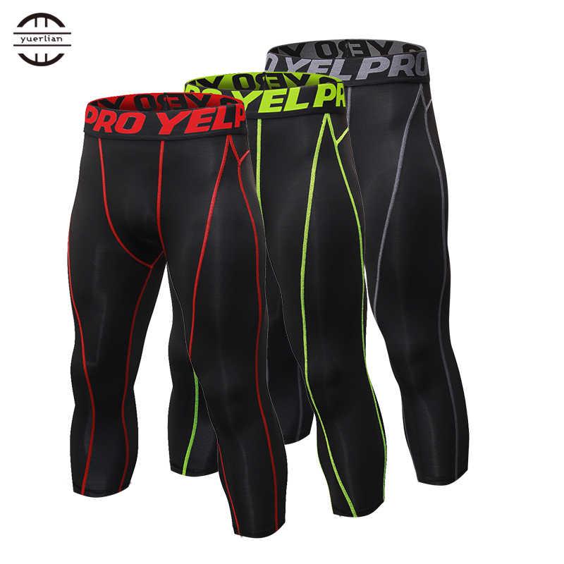 f05352742c6ed Новые мужские компрессионные колготы 3/4 брюки спортивные лосины для  фитнеса бега баскетбола брюк бег