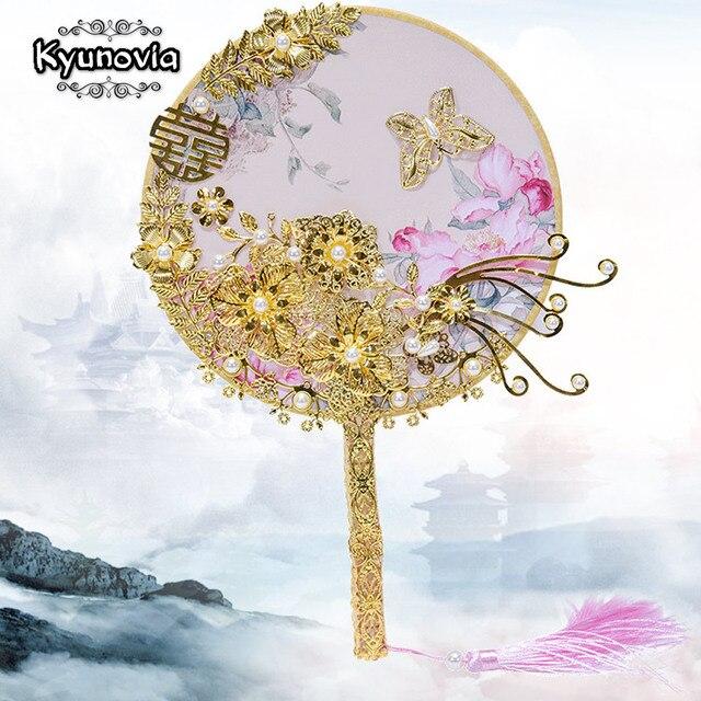 Kyunovia Kore Fan Tipi Gelin Buket Kristal Çiçek Kız Buket Altın Çiçek Kız Değnek Gelinlik Buketi D90
