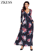 Zkess New Women Floral Print Surplice Long Sleeve Maxi Boho Dress Sexy Club Party V Neck