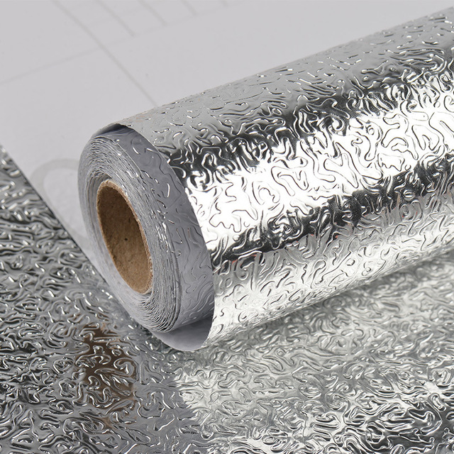 Kitchen Wall Stove Aluminum Foil Oil-proof Stickers Anti-fouling High-temperature Self-adhesive Croppable Wallpaper Wall Sticker 5