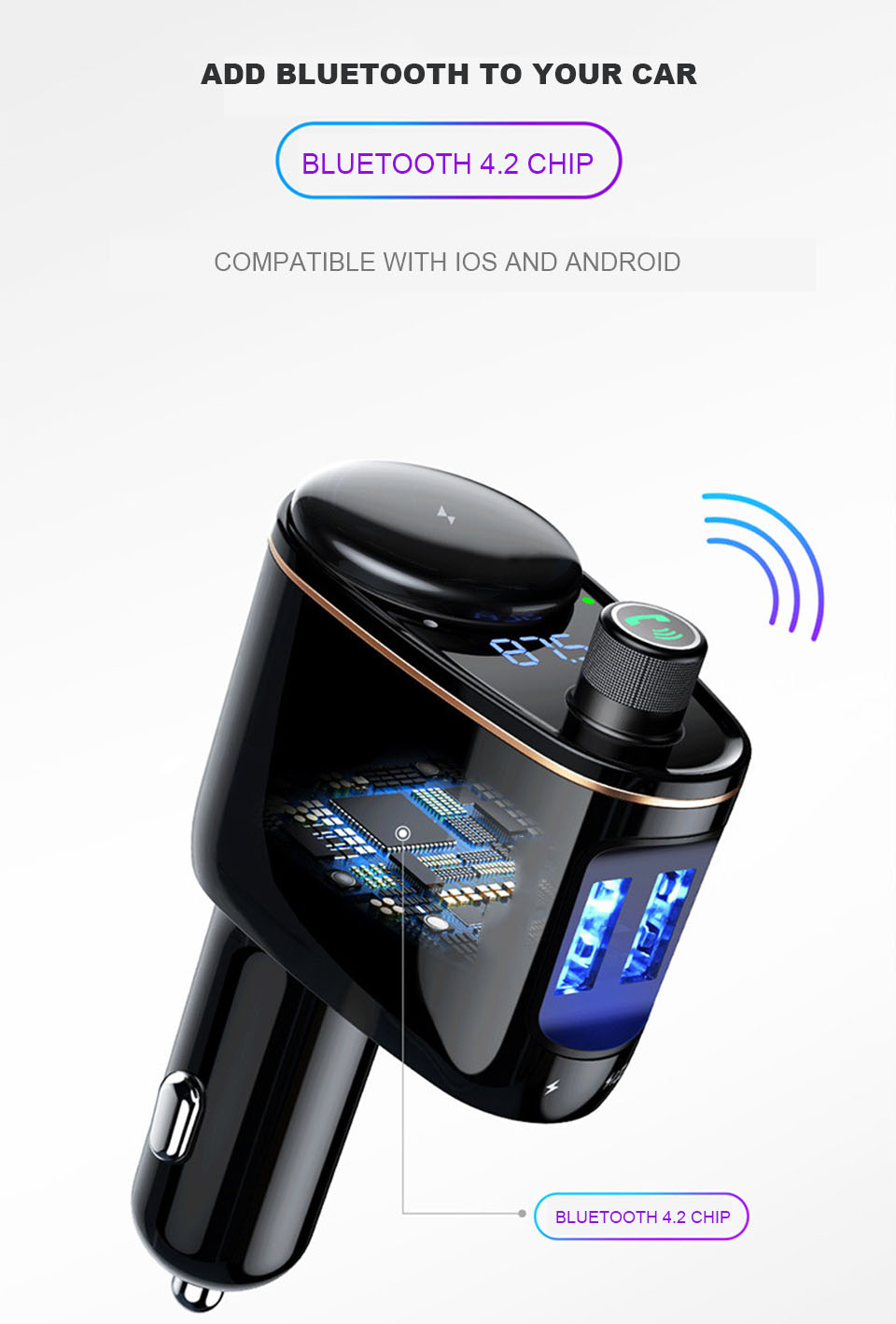 Car Charger Adapter Fast Charging Universal Fm Transmitter Aux Modulator Bluetooth Handsfree Car Audio Mp3 Player Dual Usb Charger Car (2)