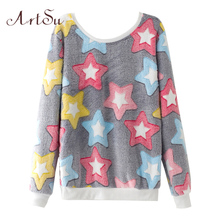 ArtSu New 2017 Women Spring Autumn Long Sleeve Casual Sweatshirts Women Cute Print Hoodies Moleton Feminine