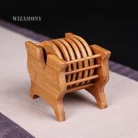 WIZAMONY Handmade tea mats Rattan coasters saucer heat insulation pad placemats for table Tea Tray Bamboo teapot tea set