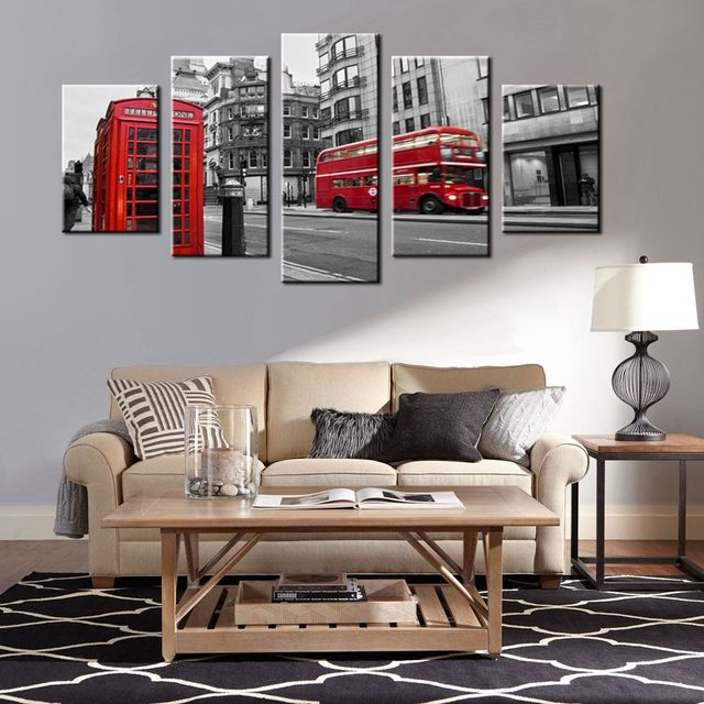 Superbe Gift Black U0026 White Canvas Print Wall Art Painting Home Decor London Street  Scene Red Bus
