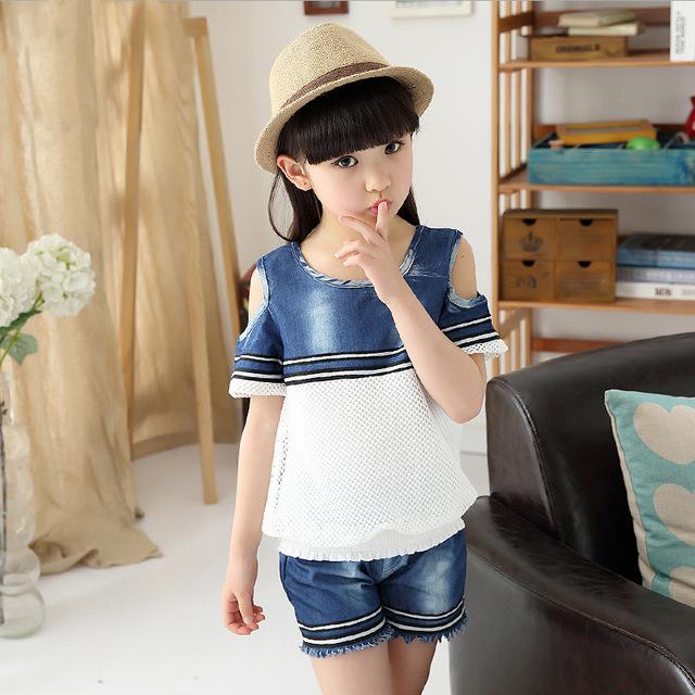 Crianças de Verão Meninas Novas Moda Shorts Jeans Colete Costura Malha T-shirt do Terno Crianças Conjuntos de Roupas de Algodão Azul