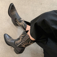 Retro Genuine Leather Western Boots Chunky Heels Boots Woman Shoes Women Casual Cowboy Boots Shoes Woman Boots Female