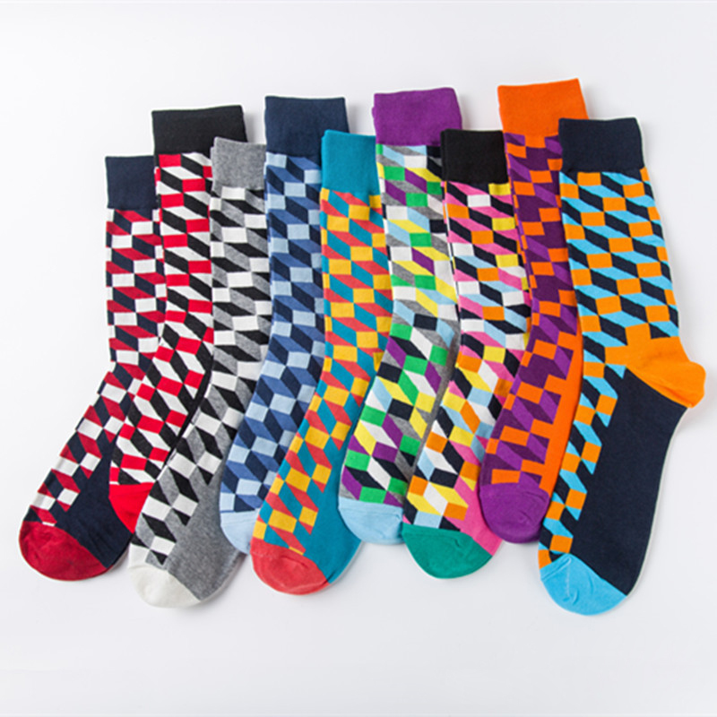 Women Personality European Version Couples   Socks   Funny Happy   Socks   Cotton Plaid Geometric Lattice Striped Men   Socks   Female