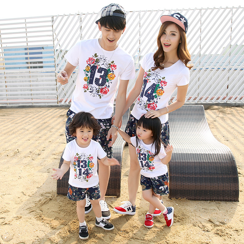 Hot mother father baby Kids short sleeve T-shirt family look couples clothing mother son outfits wholesale Cheap Clothes China