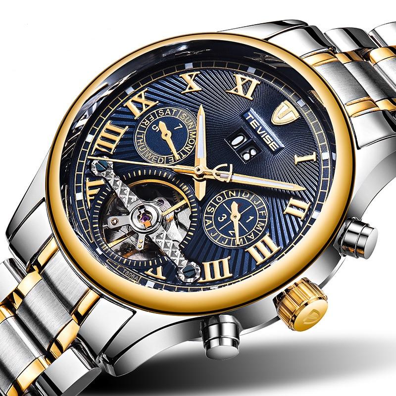 Luxury strap watch men diamond automatic Self-Wind Mechanical Wristwatches Male waterproof Luminous calendar moon phase T806A