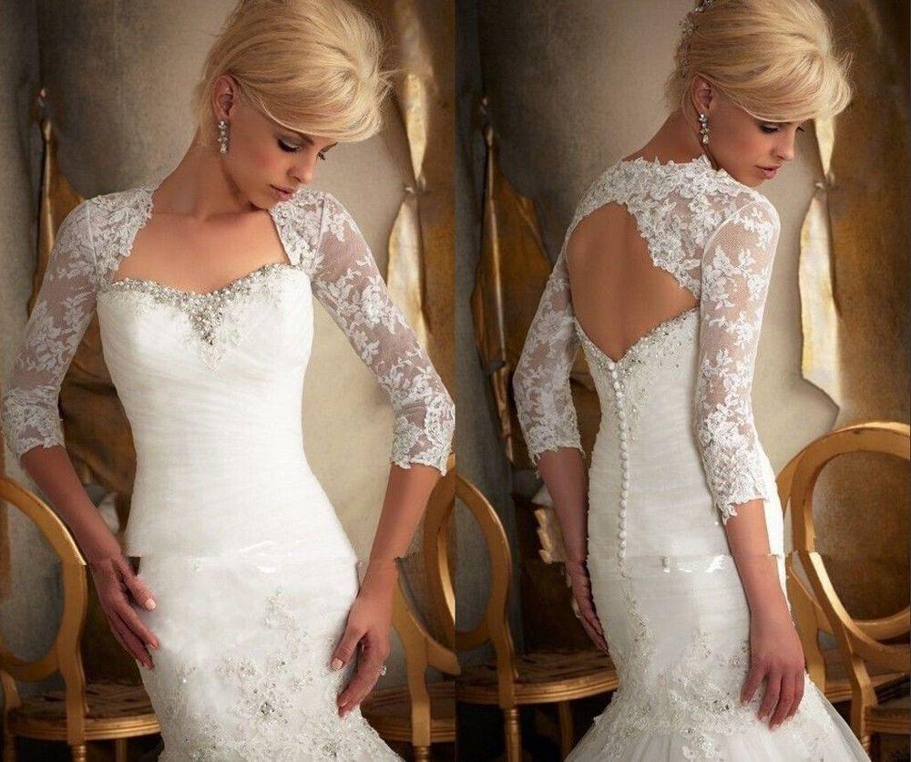 3/4 Sleeve Lace Ivory Shawl Bolero Wedding Jacket Bridal Shrug Wraps Custom Size T28