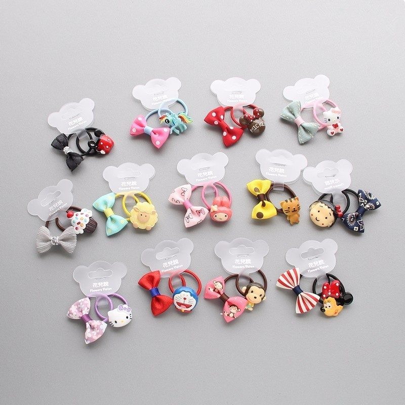2 PCS New Bowknot Animal Princess   Headwear   Kids Elastic Hair Bands Baby Headdress Children Hair Ropes Girls Hair Accessories