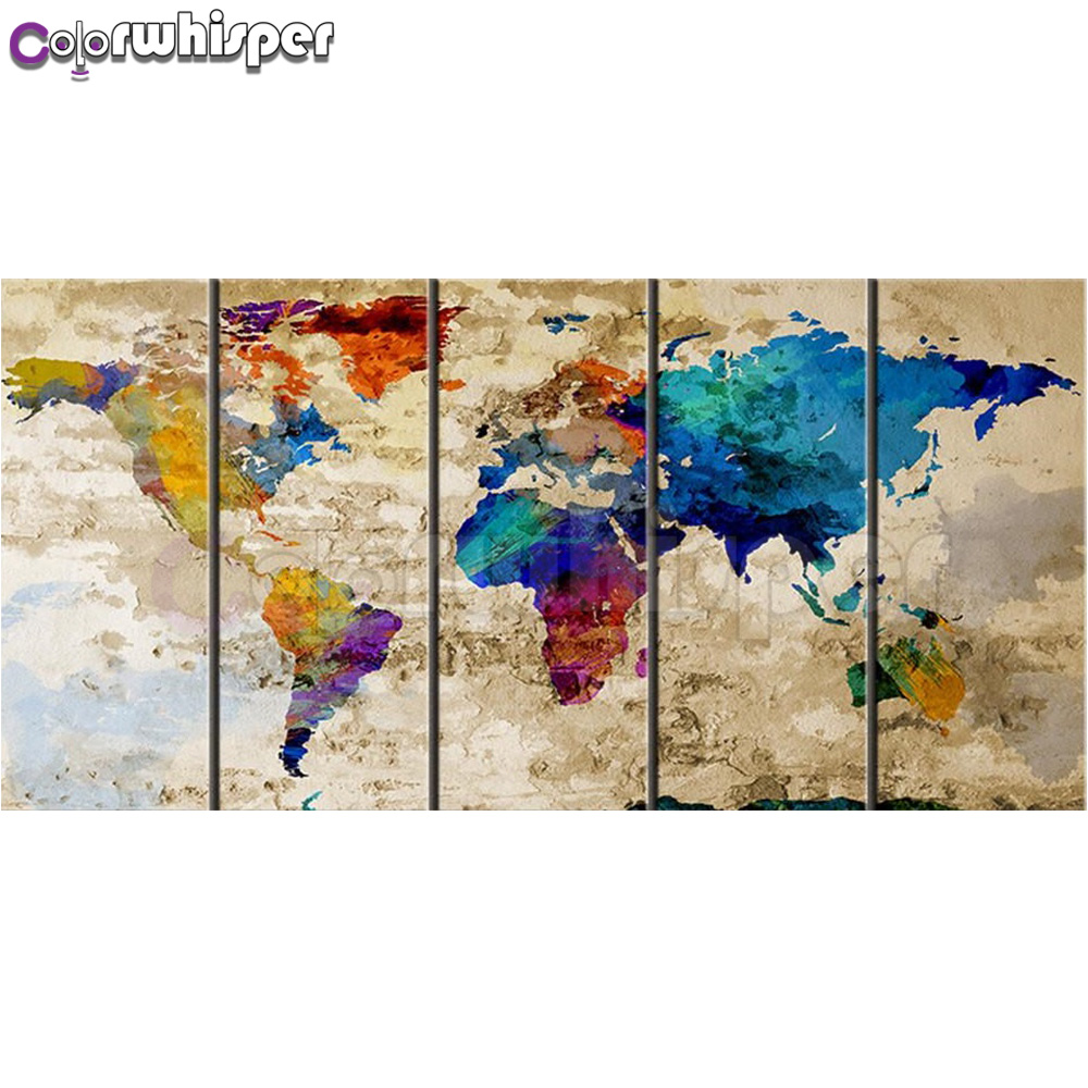 Diamond Painting Full Square/ Round Colorful World Map on Old Wall Background 5 Panel Pentaptych Daimond Painting Cross Stitch