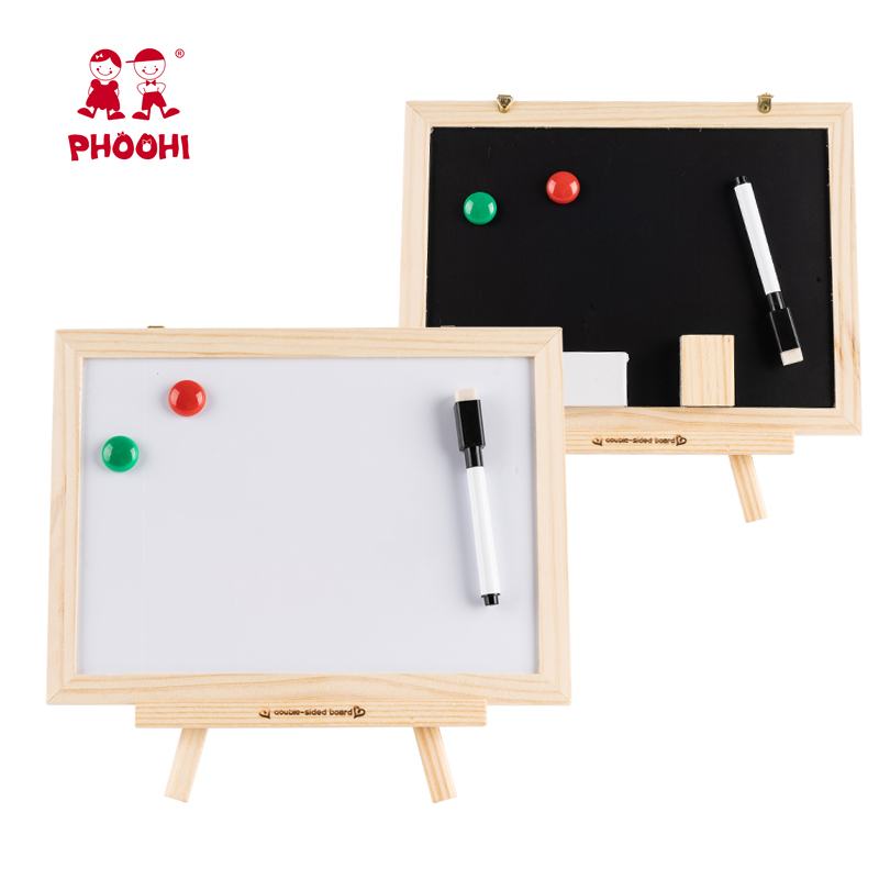 Magnetic Double Drawing Toy Wooden Kids Table Top Easel Educational Play Board Toy PHOOHI