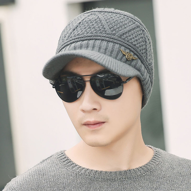 Mens Winter Hats Knitted Wool Skullies Casual Cap With Brim Plaid