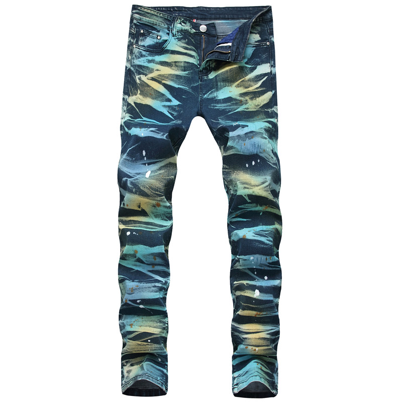 MORUANCLE Men's Fashion Painted Jeans Pants Stretch Straight Printed Denim Trousers For Male Plsu Size 28-42 Washed