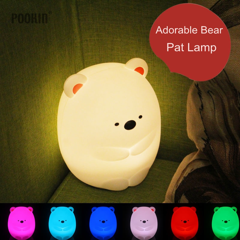 USB Rechargeable Colorful Silicone Gel Adorable Bear light Pat Lamp Children Cute Night Lamp Christmas Bedroom Light lumiparty touch cute dolphin usb rechargeable children night light baby whale multicolor led light silicone pat lamp bedside