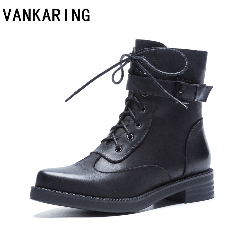 VANKARING 2018 new genuine leather ankle boots for women pointed toe autumn winter boots lace up comfortable platform snow boots 2017 new fashion genuine leather snow boots female winter platform ankle boots women zipper lace up boots
