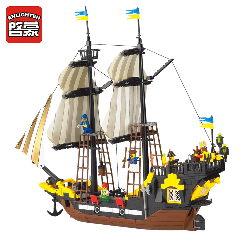Enlighten 590Pcs Building Blocks Legoings Pirate Ship Weapons Model Kits Bricks Educational Toys for Children red pirate ship blocks compatible legoingly war pirate king character action diy bricks cannon building blocks toys for children