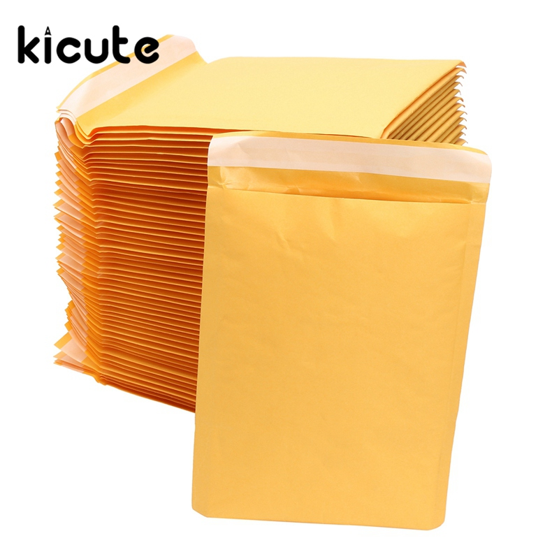 Kicute 50pcs/lot Yellow Brand New Kraft Bubble Mailers Padded Envelopes Shipping Bags Self Seal Business School Office Supplies