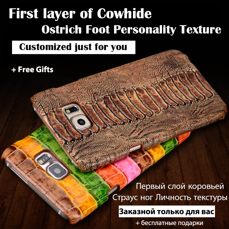 Back Case For Nokia Lumia 930 Top Quality Luxury Ostrich Leg Texture Cowhide Genuine Leather Customize