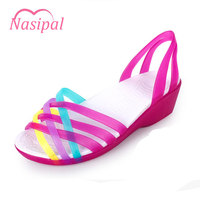 SGESVIER Women Sandals 2017 Hot Summer Candy Color Women Shoes Peep Toe Stappy Beach Wedges Sandals