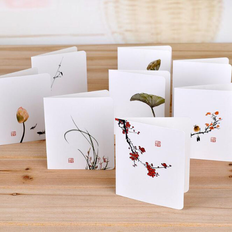 Creative Chinese Style Greeting Card Simple Message Diy Folding Birthday Christmas New Year'S Day Greeting Card With Envelope