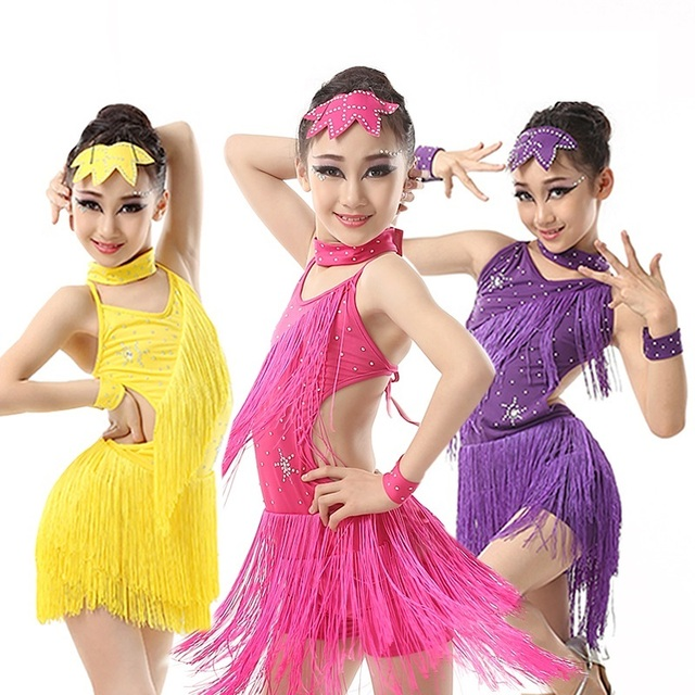 8f9e67956d55 latin girls sexy costumes for kids dress samba with fringe ballroom dance  competition dancing dresses for