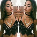 New Women  Black Lace Floral  Tops  Crop Tanks  UnPadded Camis Sexy