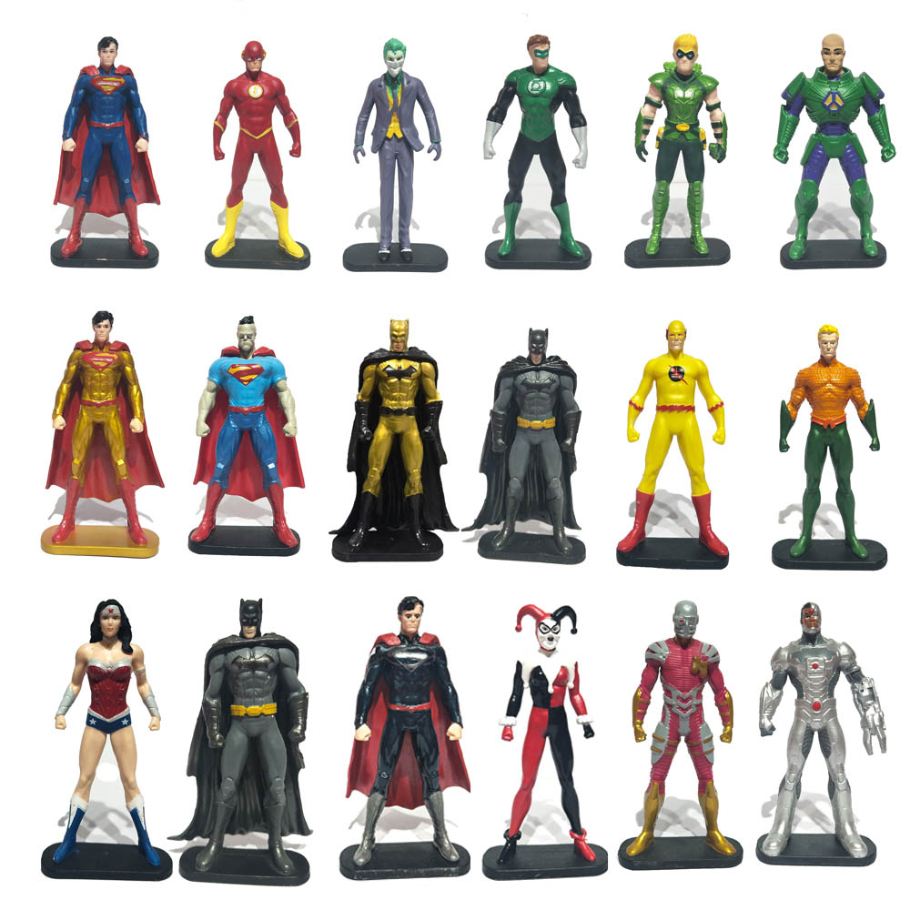 18pcs Style Avenger Superheroes Batman Green Lantern Flash Superman Wonder Woman Aquaman Action Figure Captain DC Figure Gifts