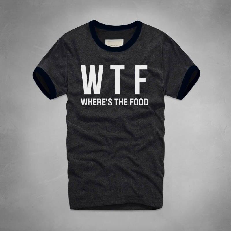 c2f3ef9fb WTF engraçado Impresso T-shirt Verão Marca Wheres A Comida Dos Homens  Camisetas de Algodão Casuais camisa de Manga Curta T